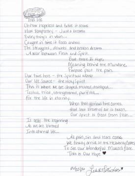 Leah - poem - Hope This life